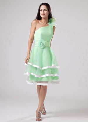 Apple Green Layers and Flowers One Shoulder Dress for Bridesmaids
