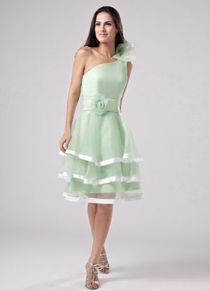 Floral One Shoulder and Sash for Layers Bridesmaid Dress in Apple Green