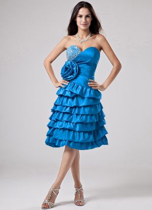 Teal Ruffled Layers and Handle Flower Maternity Bridesmaid Dresses