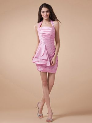 Halter and Ruche for Mini-length Maternity Bridesmaid Dress in Rose Pink