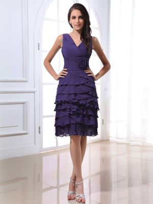V-neck for Purple Dress for Bridesmaids with Ruffled Layers and Flowers
