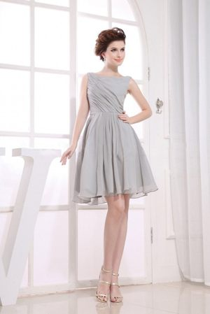 North Vancouver Bateau Grey Maternity Bridesmaid Dress to knee-length