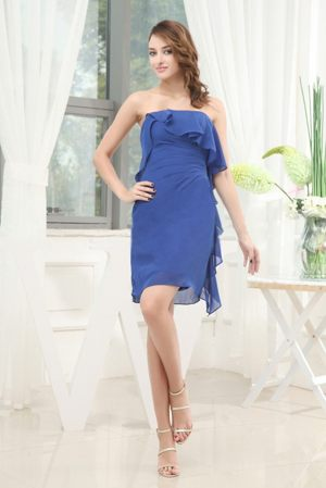 Kamloops Blue Knee-length 2013 Dresses for Bridesmaid Made in Chiffon