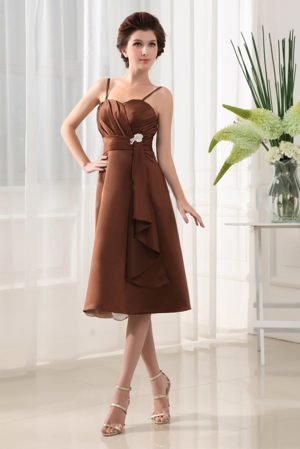 Beading Straps Tea-length Bridesmaid Dress for Church Wedding in Brown