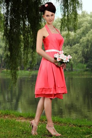 Strathcona County Halter Bridesmaid Dress with Sashes in Coral Red