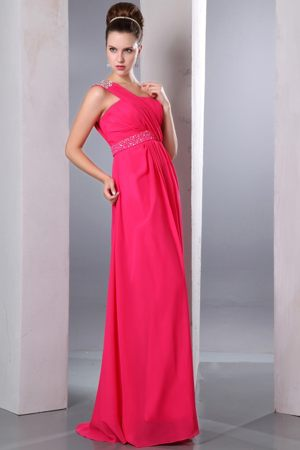 Hot Pink One Shoulder Beading Bridesmaid Dress for Summer Wedding