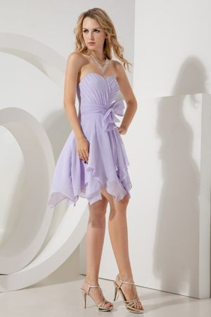 Lilac Empire Mini Bridesmaid Dresses Embellished Bowknot in Nova Scotia