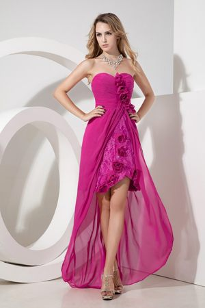Fuchsia Flowers and Embroidery Bridesmaid Dress with Chiffon and Lace
