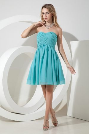Sweetheart Ruche Bridesmaid Dress to Knee-length Chiffon in Turquoise