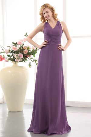 Elegant Purple Straps with V-neck Maternity Bridesmaid Dress with Ruche