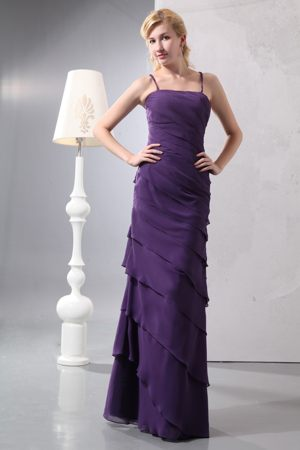 Dark Purple Column Straps Dresses for Bridesmaid with Ruffled Layers