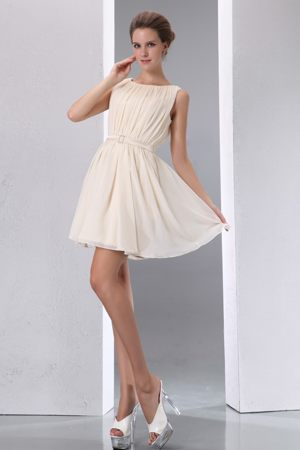 British Columbia Scoop Mini Ruche Dresses for Bridesmaid in Champagne