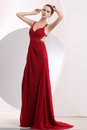 Wine Red Beading Straps Maternity Bridesmaid Dress Attached Brush