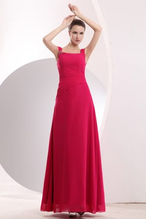 Hot Pink Straps Beading Coquitlam Dress for Bridesmaids in Empire
