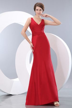 Red Straps with V-neck Ruche Bridesmaid Dress to Floor-length in Column