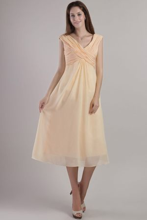 Yellow Empire Straps with V-neck Maternity Bridesmaid Dress to Ankle-length