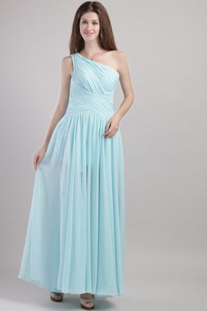 Light Blue One Shoulder Ruche Dresses for Bridesmaids to Ankle-length