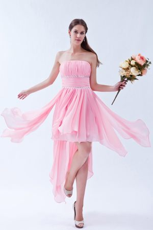 Handkerchief Design for Pink Cambridge Asymmetrical Bridesmaids Gown
