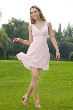 Baby Pink Ontario Empire Straps with V-neck Mini Bridesmaid Dresses