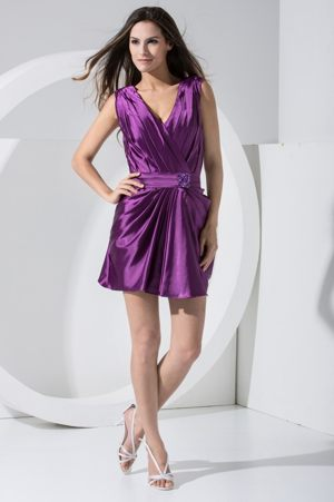 V-neck Purple Bridesmaid Dress for Wedding Decorated with Beaded Sash