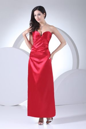 Red Sweetheart Ankle-length Dress for Bridesmaids for Women with Ruche