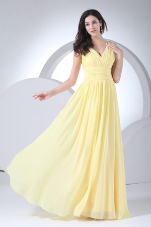 Empire V-neck Ruched Yellow Maternity Bridesmaid Dresses to Floor-length