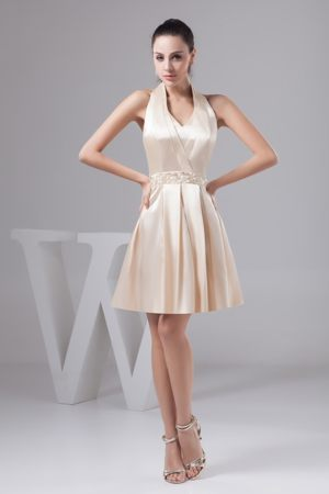 Champagne Mini Halter Top Dresses for Bridesmaid with Beading Sash