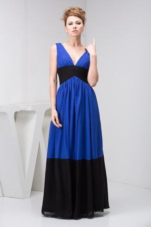 V-neck Blue and Black Dresses for Bridesmaids with Ruche in Column