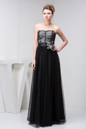 Tulle Sweetheart Black Dresses for Bridesmaid with Handmade Flower