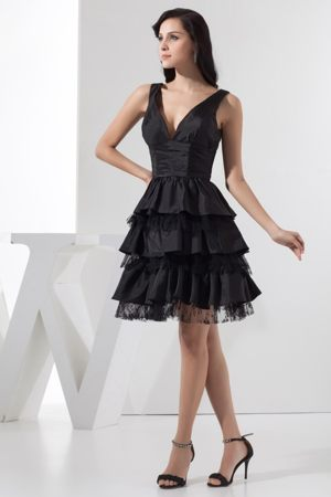 Plunging V-neck Knee-length Ruffle-layers Black Bridesmaid Dresses