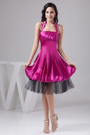 Fuchsia Halter-top Ruche Puffy Dresses for Bridesmaid in Satin and Tulle