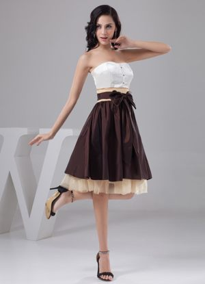 A-line Multi-color 2013 Bridesmaids Gowns with Bowknot and Ruching