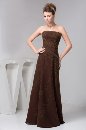 Brown Strapless Long Dress for Bridesmaids for Weddings with Beading