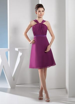 Knee-length and Straps Ruched Dresses for Bridesmaids in Purple 2013