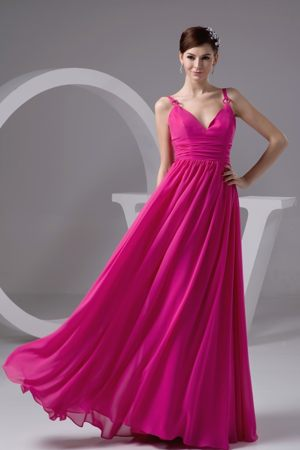 Spaghetti Straps with V-neck Maternity Bridesmaid Dresses in Hot Pink