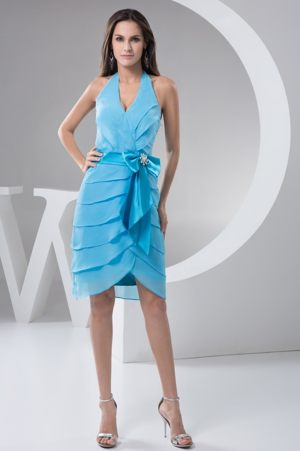 Aqua Blue Halter Bridesmaids Gown with Bowknot and Layers Decoration