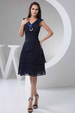 Navy Blue Wide Straps for Bridesmaids Dresses of Knee-length 2013