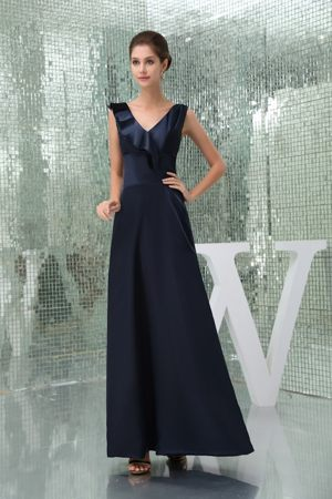 Ankle-length and V-neck for Maternity Bridesmaid Dress in Navy Blue