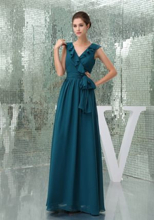 Teal V-neck with Flounced Hemline Dress for Bridesmaids with Sash