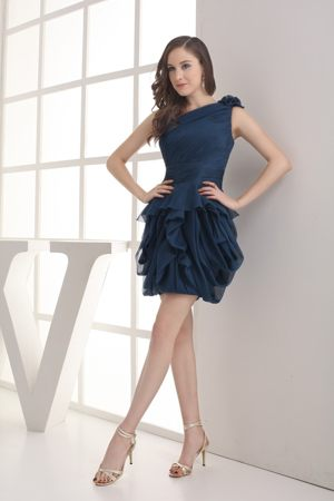 Navy Blue Asymmetrical One Shoulder with Ruching Dress for Bridesmaids