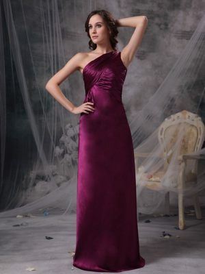 Purple One Shoulder Ruche Dresses for Bridesmaids to Floor-length