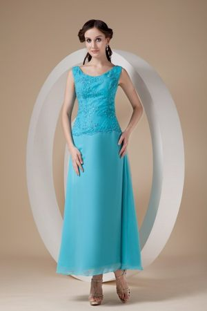 Teal Wide Straps to Ankle-length Beading Plus Size Bridesmaid Dresses