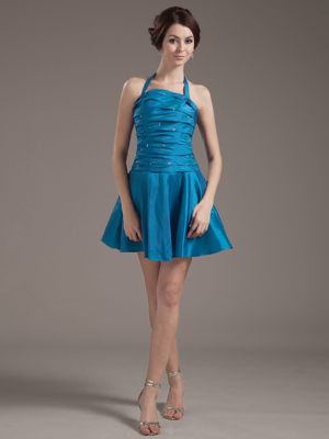 Halter for Aqua Blue Plus Size Bridesmaid Dresses with Beading and Ruching
