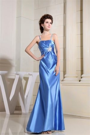 Sky Blue Beading Plus Size Bridesmaid Dresses with Straps to Floor-length