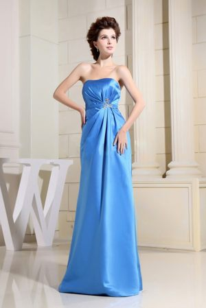 Sky Blue Bridesmaid Dresses for Church wedding with Strapless to Floor
