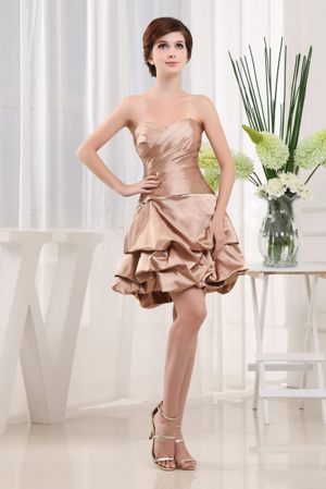 Ruffles Dresses for Bridesmaid with Sweetheart in Champagne to Mini-length