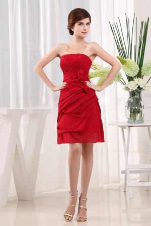 Wine Red Handle Flowers Bridesmaid Dresses for wedding Decorated Ruche