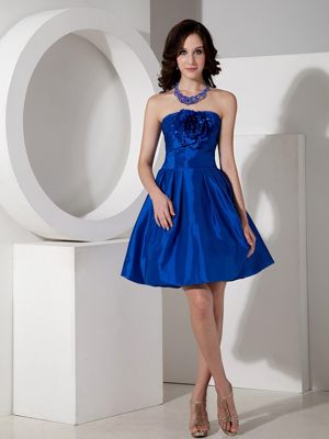 Royal Blue Handle Flowers A-line Strapless Mini Dresses for Bridesmaids