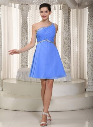 Empire One Shoulder Mini Beading Wedding Bridesmaid Dresses in Blue