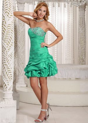 Green Beaded Decorated Bust with Pick-ups Bridesmaid Dresses in A-line